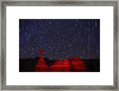 Toadstools Startrails Framed Print by Dustin  LeFevre