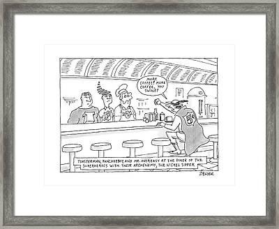 Toasterman, Pancakeboy, And Mr. Overeasy Framed Print by Jack Ziegler