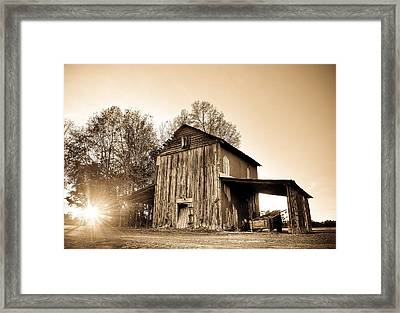 Tobacco Barn In Sunset Framed Print