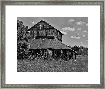 Tobacco Barns With Clouds Framed Print