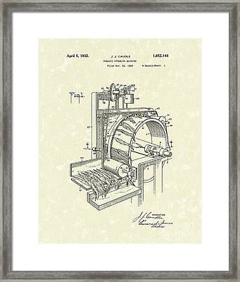 Tobacco Machine 1932 Patent Art Framed Print by Prior Art Design