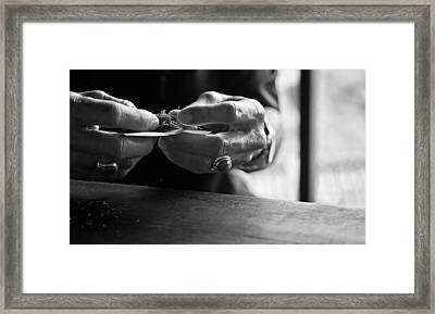 Framed Print featuring the photograph Tobacco Rolling - Bali by Matthew Onheiber