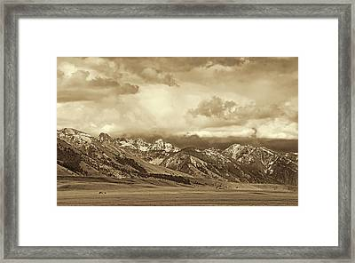 Tobacco Root Mountain Range Montana Sepia Framed Print by Jennie Marie Schell