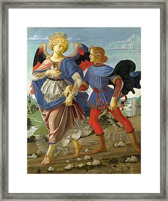Tobias And The Angel Framed Print by Workshop of Andrea del Verrocchio
