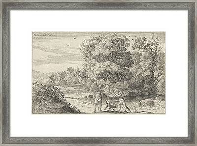 Tobias Scares The Fish, Herman Van Swanevelt Framed Print by Herman Van Swanevelt And Charles Audran