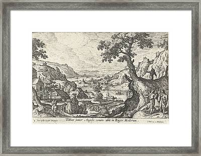 Tobias With The Angel, Anonymous, Joannes Galle Framed Print