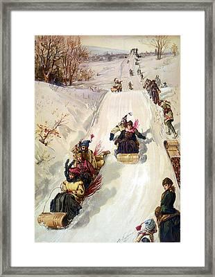 Tobogganing 1886 Framed Print by HY Sandham
