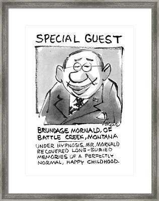 Today's Special Guest Brundage Mornald Framed Print by Lee Lorenz