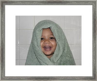 Toddler In A Towel Framed Print by Sheldon Barreto