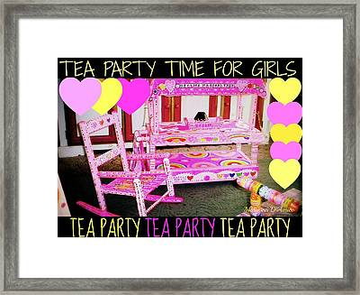 Toddler Tea And Art Cart/table And Magical Rocking Chair Framed Print by Maryann  DAmico