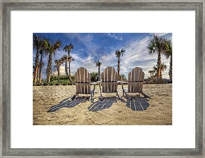 Toes In The Sand Framed Print by Debra and Dave Vanderlaan