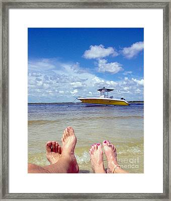 Toes In The Water Painting Framed Print by Jon Neidert