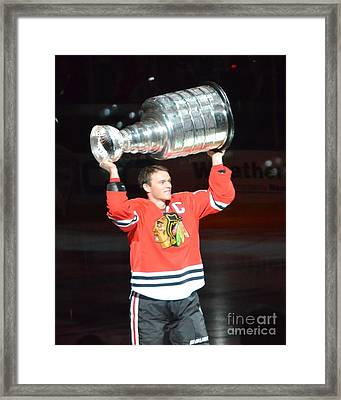 Toews Holds The Stanley Cup Framed Print by Melissa Goodrich