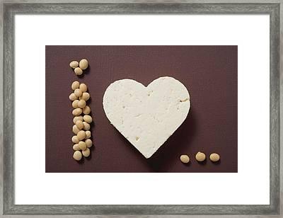 Tofu Heart And Soya Beans Framed Print