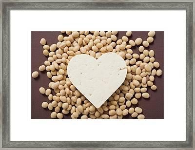 Tofu Heart On Soya Beans Framed Print