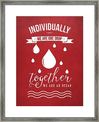 Together We Are An Ocean - Red Framed Print