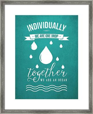 Together We Are An Ocean - Turquoise Framed Print