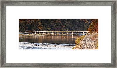Togetsukyo Bridge And Katsura River Panorama Arashiyama Kyoto Ja Framed Print by Colin and Linda McKie