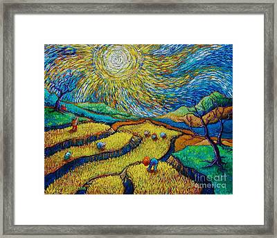 Toil Today Dream Tonight Diptych Painting Number 1 After Van Gogh Framed Print