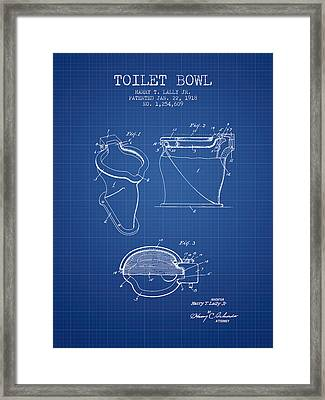 Toilet Bowl Patent From 1918 - Blueprint Framed Print by Aged Pixel