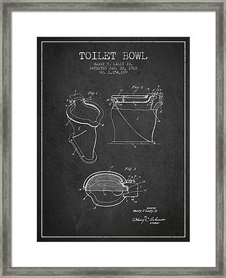 Toilet Bowl Patent From 1918 - Charcoal Framed Print by Aged Pixel