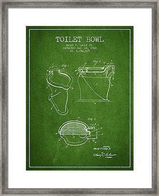 Toilet Bowl Patent From 1918 - Green Framed Print by Aged Pixel