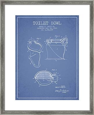 Toilet Bowl Patent From 1918 - Light Blue Framed Print by Aged Pixel