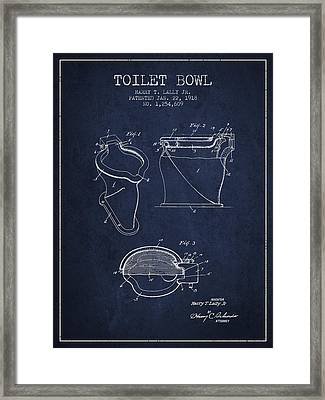 Toilet Bowl Patent From 1918 - Navy Blue Framed Print