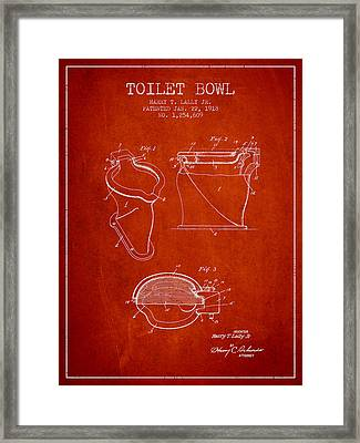 Toilet Bowl Patent From 1918 - Red Framed Print by Aged Pixel