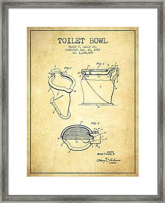 Toilet Bowl Patent From 1918 - Vintage Framed Print by Aged Pixel