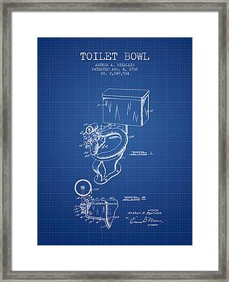 Toilet Bowl Patent From 1936 - Blueprint Framed Print by Aged Pixel