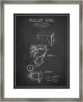 Toilet Bowl Patent From 1936 - Charcoal Framed Print by Aged Pixel