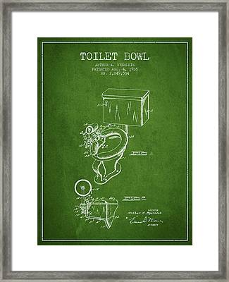 Toilet Bowl Patent From 1936 - Green Framed Print