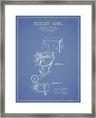 Toilet Bowl Patent From 1936 - Light Blue Framed Print by Aged Pixel