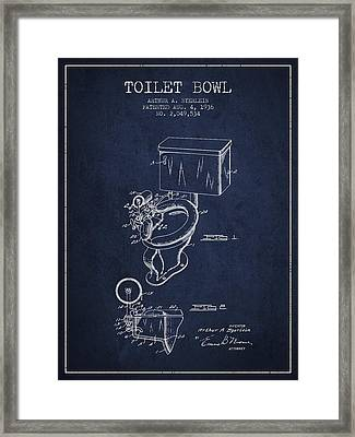 Toilet Bowl Patent From 1936 - Navy Blue Framed Print by Aged Pixel