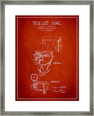 Toilet Bowl Patent From 1936 - Red Framed Print by Aged Pixel