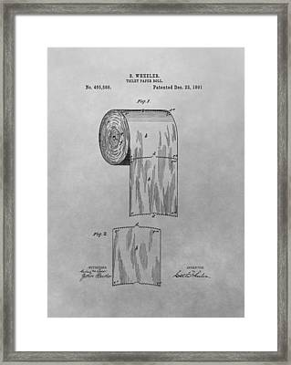 Toilet Paper Patent Drawing Framed Print by Dan Sproul