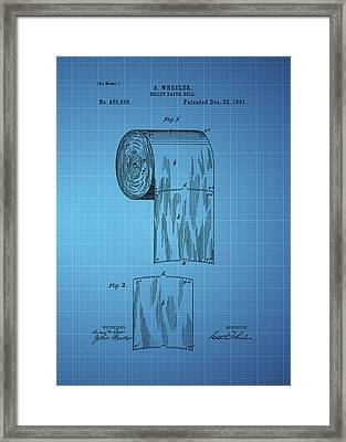 Toilet Paper Roll Patent 1891 - Blue Framed Print by Chris Smith