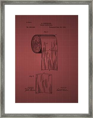 Toilet Paper Roll Patent 1891- Burgundy Framed Print by Chris Smith
