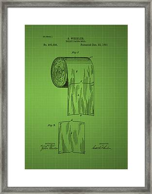 Toilet Paper Roll Patent 1891 - Green Framed Print by Chris Smith