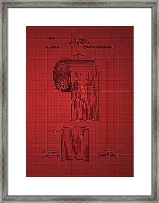 Toilet Paper Roll Patent 1891 - Red Framed Print by Chris Smith