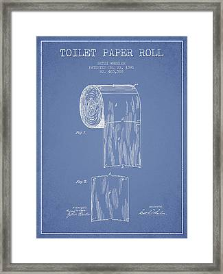 Toilet Paper Roll Patent Drawing From 1891 - Light Blue Framed Print by Aged Pixel