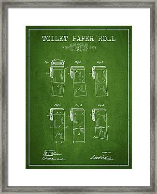 Toilet Paper Roll Patent From 1891 - Green Framed Print