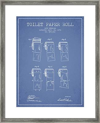 Toilet Paper Roll Patent From 1891 - Light Blue Framed Print