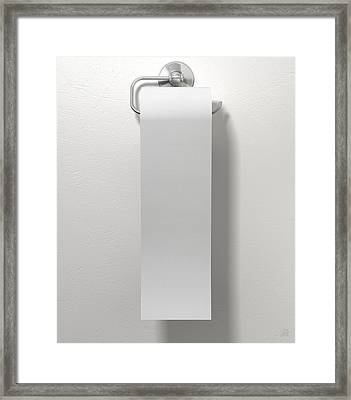 Toilet Roll On Chrome Hanger Framed Print by Allan Swart