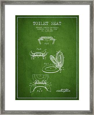 Toilet Seat Patent From 1936 - Green Framed Print by Aged Pixel