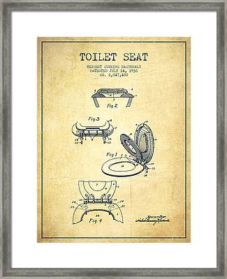 Toilet Seat Patent From 1936 - Vintage Framed Print by Aged Pixel