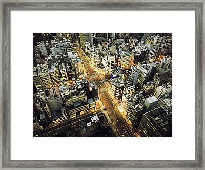 Tokyo Aerial View Street Framed Print by Franckreporter
