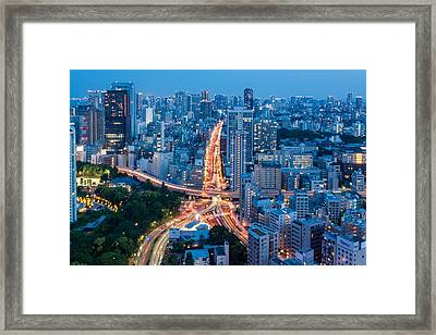 Tokyo City View From Tokyo Tower At Framed Print by Photography By Zhangxun