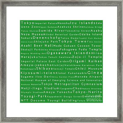 Tokyo In Words Green Framed Print by Sabine Jacobs